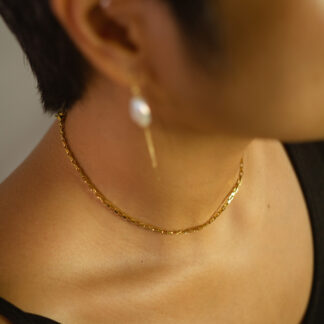 The Deco Choker Necklace when worn