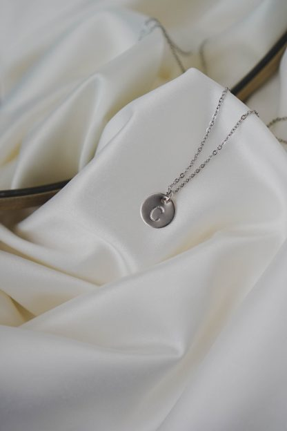 Initial Necklace in White Gold