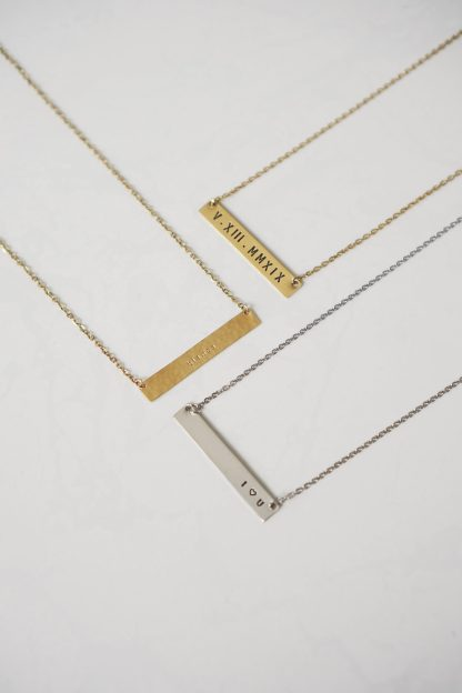 My Beloved Bar Pendant Gold and White Necklace
