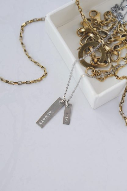 Petit Duo Bar Necklace in White Gold