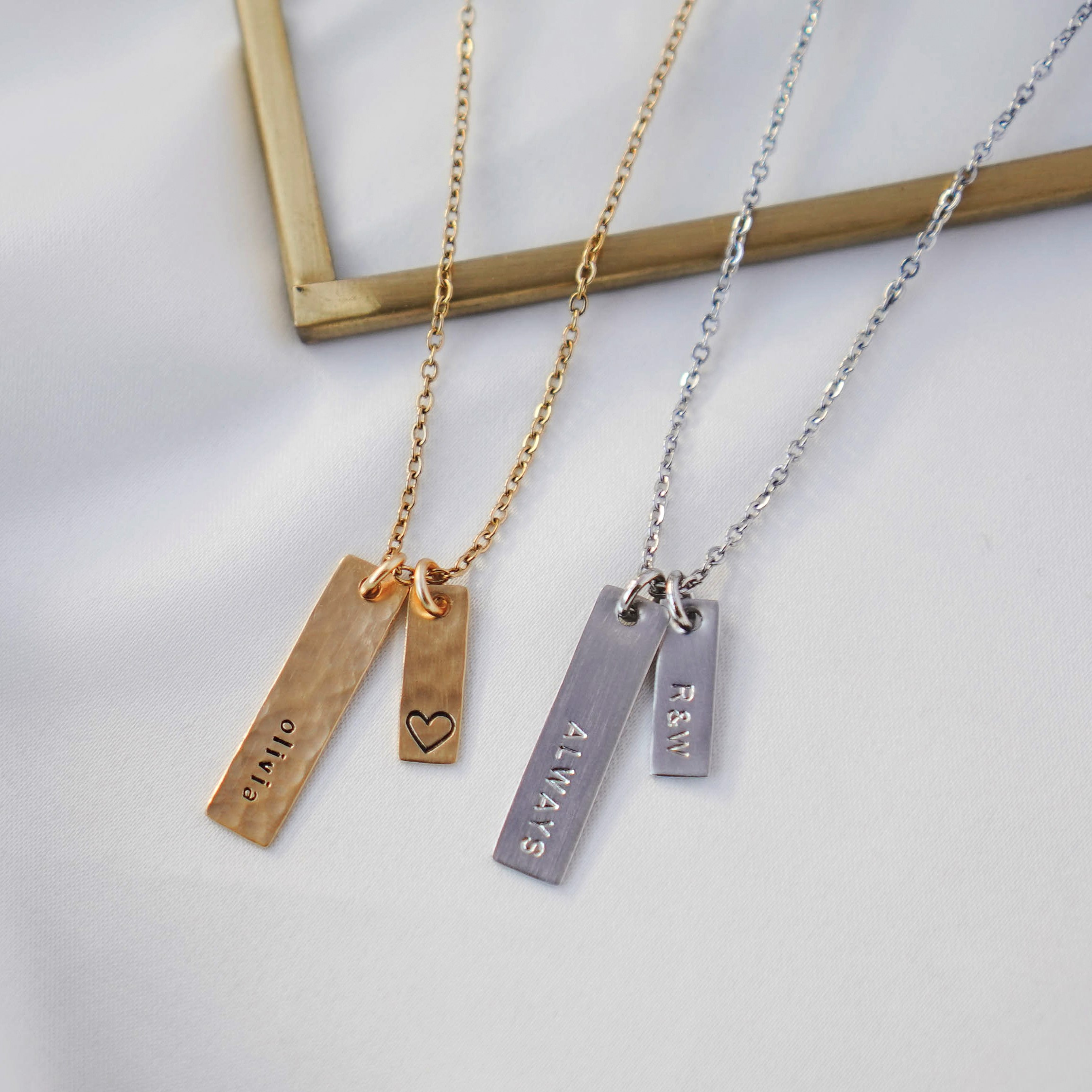 Petit Duo Bar Necklace in Gold and White Gold