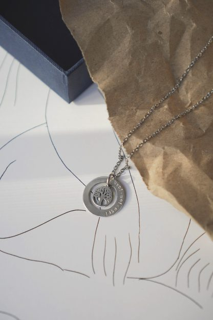 Circle of Life Necklace in White Gold